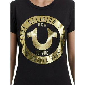 True Religion Women'sHorseshoe Metallic Logo Tee